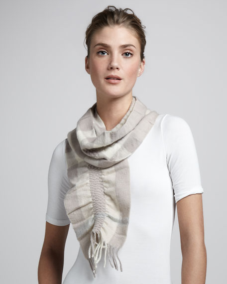 Ruched Check Cashmere Scarf