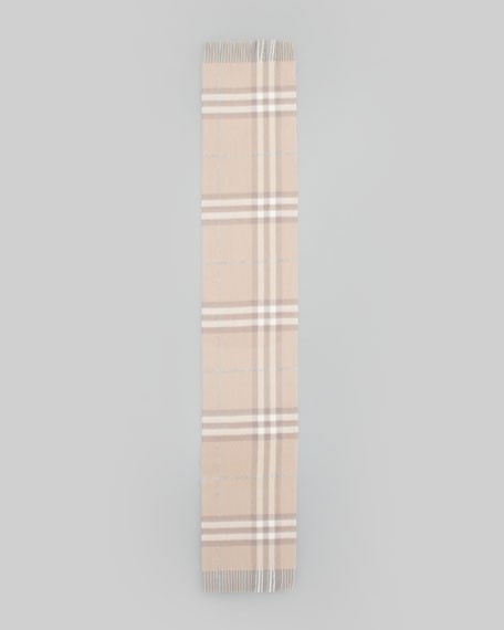 Giant Check Cashmere Scarf, Oyster