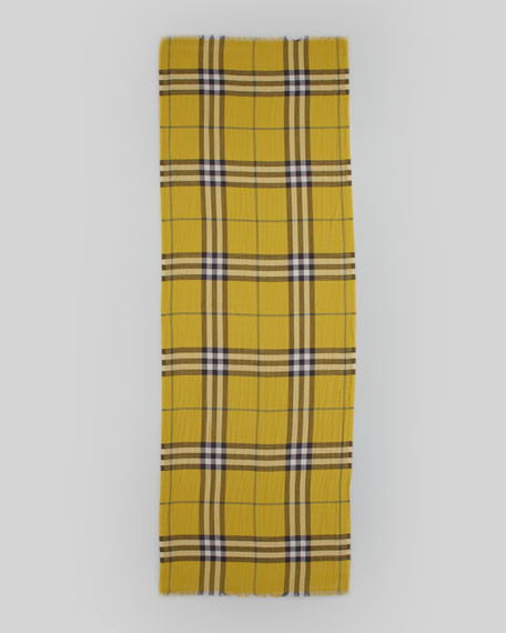 Color Check Voile Scarf, Lemon Quartz