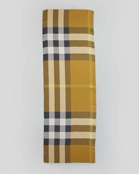 Mega Check Satin Scarf, Dark Mustard
