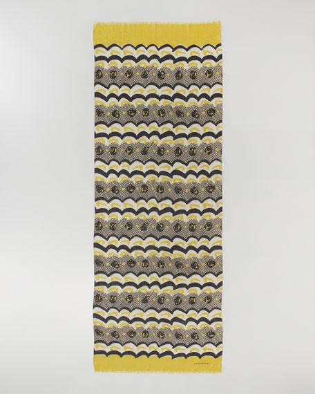 Painted Floral Striped Cashmere Scarf, Lemon Quartz