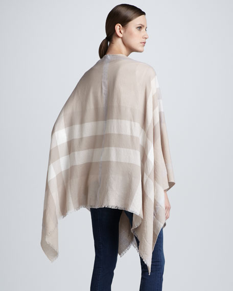 Check Wool Cape
