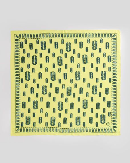Razor Blade-Print Scarf, Bleached Neon