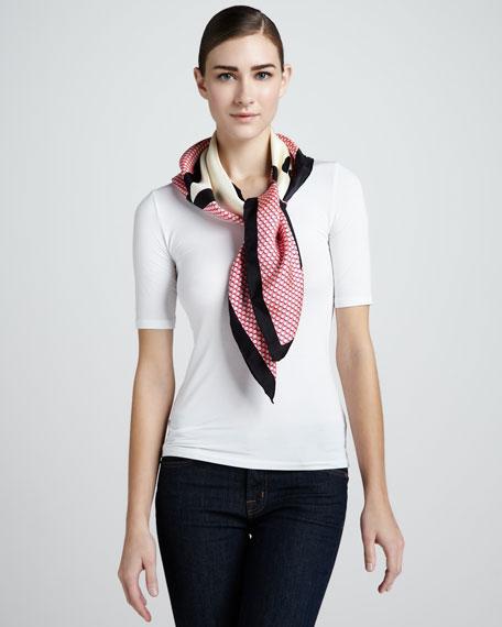 pop! silk twill square scarf, pink/cream