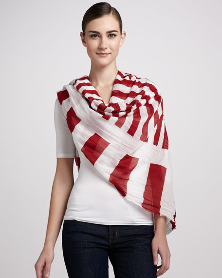 Striped Cotton Scarf, Red/White
