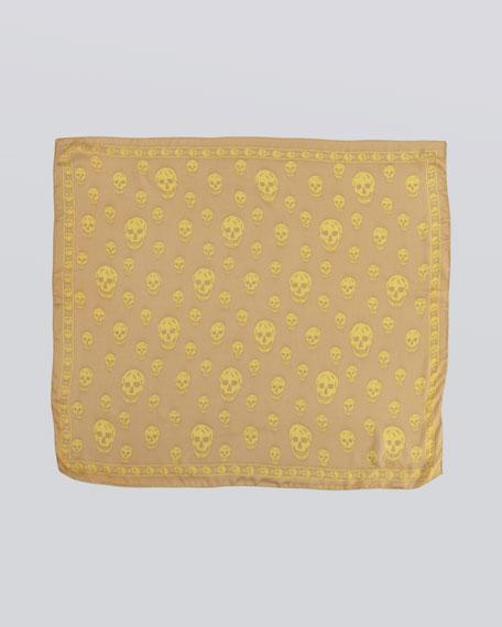 Skull-Print Chiffon Scarf, Ochre/Yellow