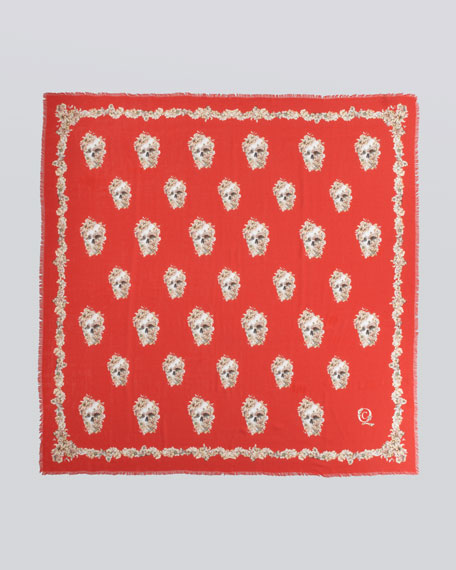 Skull & Wildflower Silk Scarf, Red