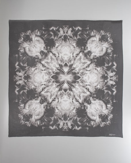 Floral Skull Circle Silk Chiffon Scarf, Black/White