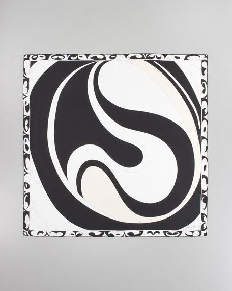Yin Yang Timeless Silk Scarf, Black/White