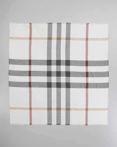Multicolor Check Gauze Scarf, Ivory