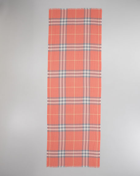 Giant Check Gauze Scarf, Coral