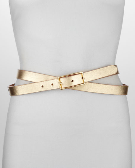 Reversible Metallic Leather Belt, Gold/Rose Gold