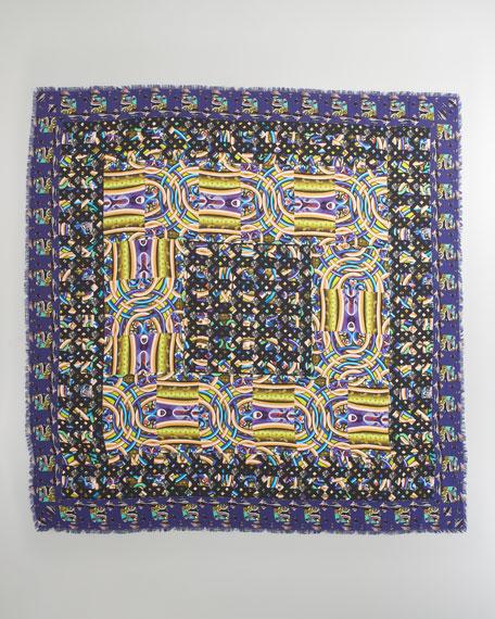 Mixed-Print Geometric Scarf, Blue
