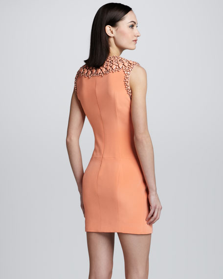 Crystal Beaded Neck Dress, Peach