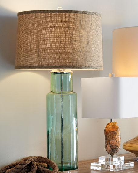 Blue-Green Recycled Glass Lamp