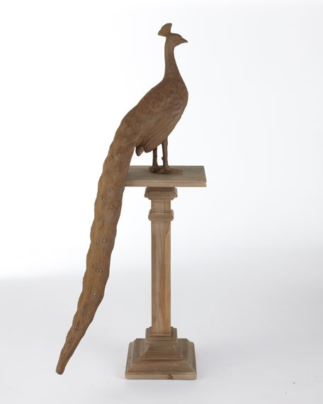 Wooden Peacock Sculpture