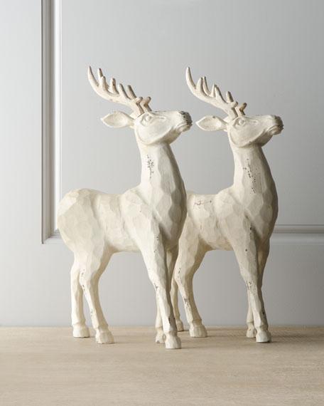"""""""Joyeux Noel"""" Antiqued White Reindeer"""