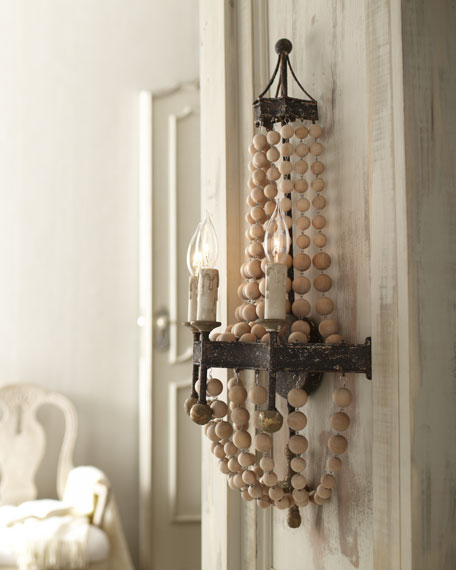 Wooden Bead Wall Sconce