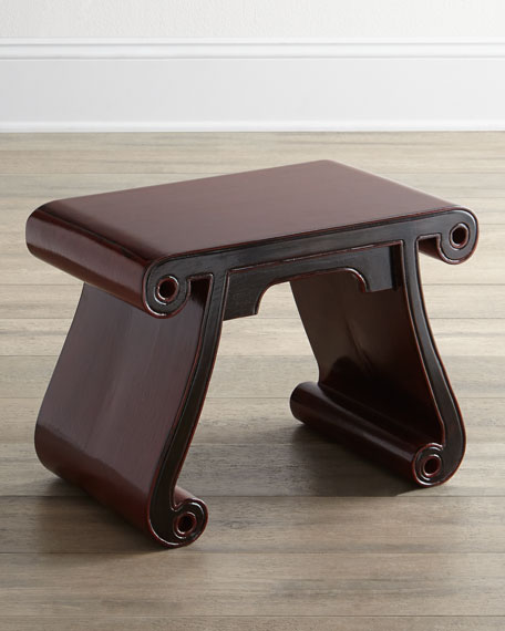 Antique Wooden Scroll Stool