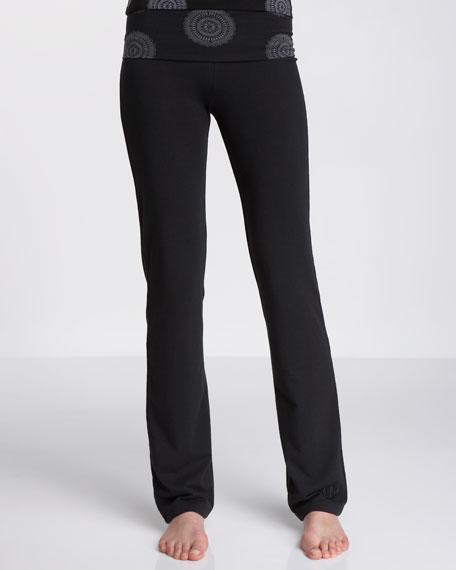 Printed-Waist Fold-Over Yoga Pants