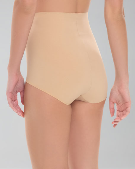 High-Waist Control Briefs, Nude