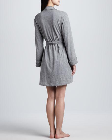 Long-Sleeve Terry Cloth Wrap Robe, Dark Heather Gray