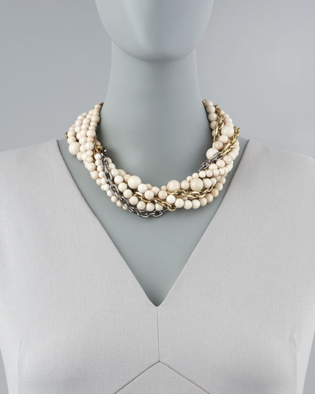 Julie 7-Strand Riverstone Beaded Necklace, Ivory