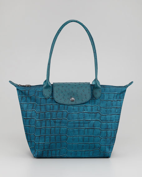 Le Pliage Croco-Print Shoulder Tote Bag, Medium