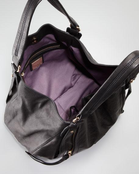 Jonnie Zip Hobo Bag, Black