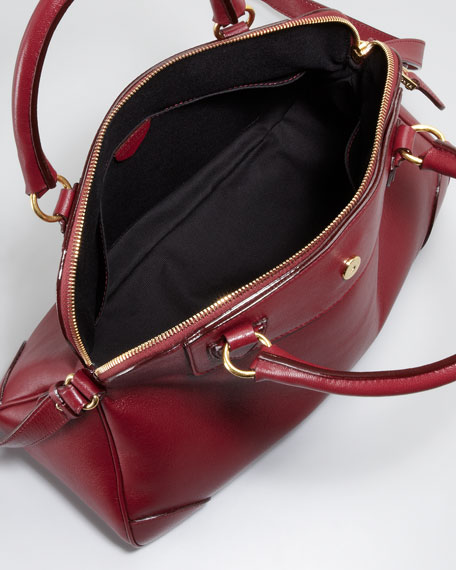 Whitney Dome Satchel Bag, Bordeaux
