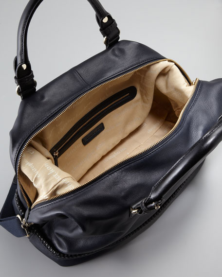 Kipton Braided Satchel Bag, Navy