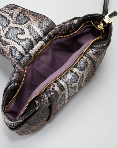 Snake-Print Wristlet, Brown