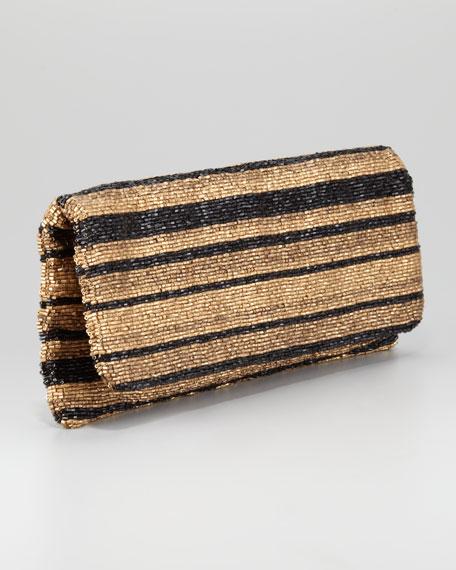 Long Stripe-Beaded Clutch Bag, Golden