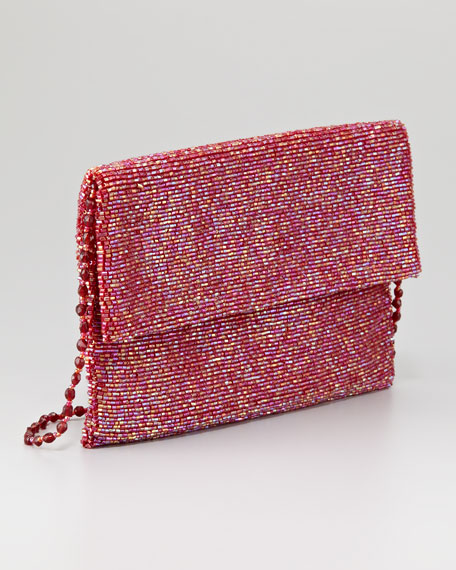 Beaded Flap-Top Clutch Bag