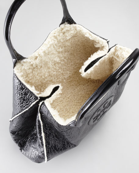 Ella Crinkled Tote Bag, Black