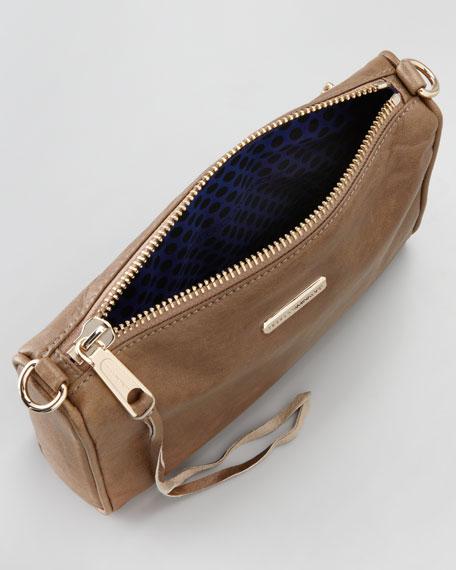 Mini Five-Zip Crossbody Bag, Taupe