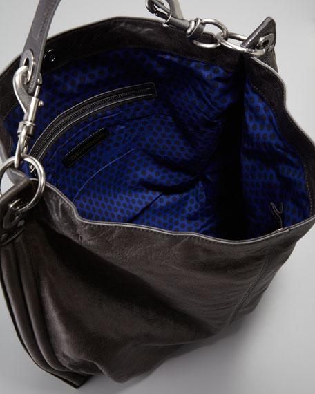 Luscious Goatskin Hobo Bag, Smoke