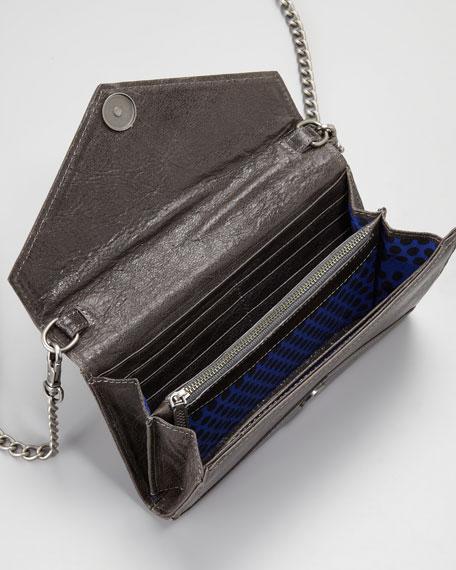 Studded Chain-Strap Wallet, Smoke