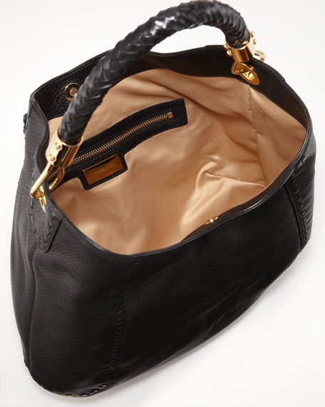 Skorpios Calfskin Hobo Bag, Black