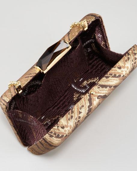 Espey Brocade Minaudiere, Brown/Gold