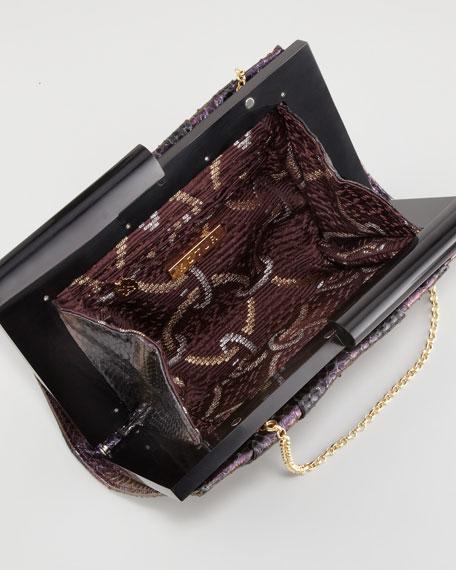 Boulet Snakeskin Clutch Bag, Black Currant