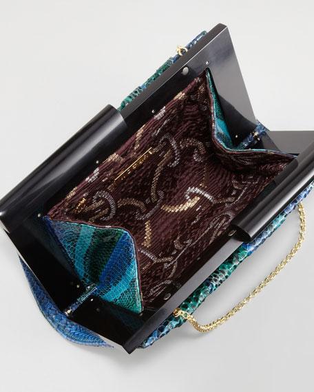 Boulet Snakeskin Clutch Bag, Evergreen