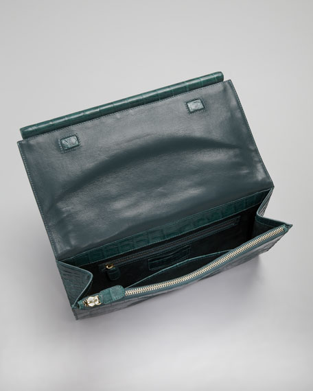 Front-Flap Crocodile Bar Clutch Bag, Peacock