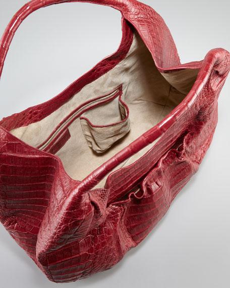 Ruffle-Pocket Crocodile Hobo Bag, Russet Red