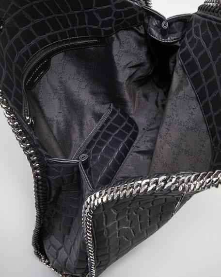 Falabella Crocodile-Embossed Large Tote Bag, Black