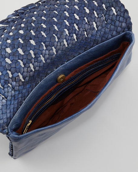 June Woven Flap Clutch Bag, Lapis Blue