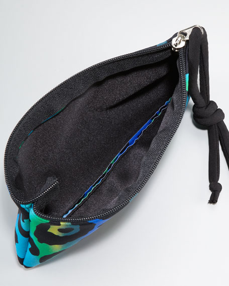 Scuba Cosmetic Bag, Turquoise Leopard