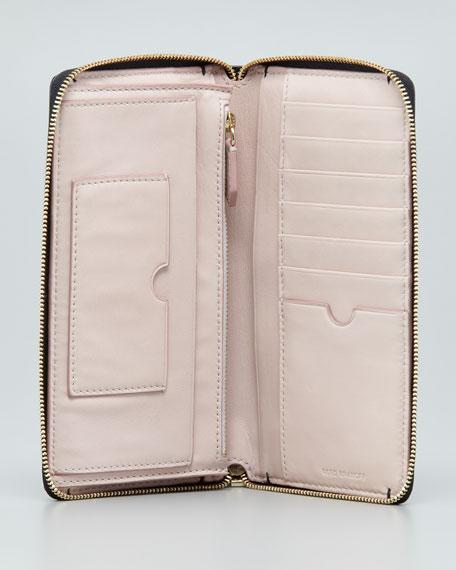 Large Patent Zip-Around Wallet, Black