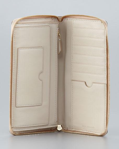 Large Patent Zip-Around Wallet, Beige