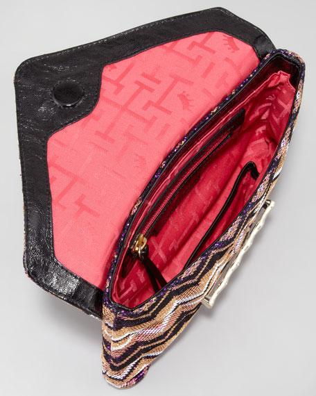 Bella Metallic Flap Clutch Bag, Purple